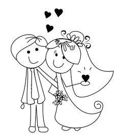 Bride and groom designs for invitation - Weddings - Dresses, Engagement Rings, and Ideas! Embroidery Patterns, Hand Embroidery, Coloring Books, Coloring Pages, Kids Table Wedding, Wedding Invitation Design, Digital Stamps, On Your Wedding Day, Homemade Cards