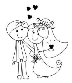 Desenhos de noivinhos para o convite