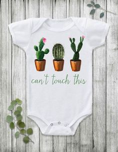 Let your baby do the talking with this funny Can't Touch This design! Say goodbye to cheesy, boring baby clothing and say hello to this fun trendy onesie! Shop the look here: www.etsy.com/...