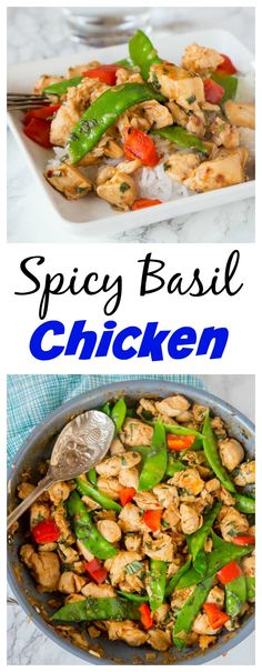 Spicy Basil Chicken – get dinner on the table in just minutes with the super easy chicken recipe.  Great Asian flavors with just a little kick.  Add veggies to make it a complete meal!