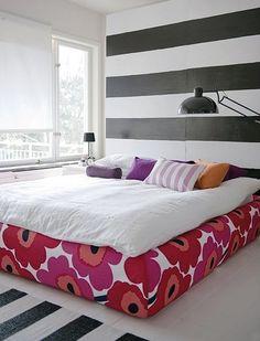 Grimen Bed Frame Cover in Marimekko Unniko Red By Bemz Marimekko Bedding, Bedroom Blinds, Cama Box, Headboard Designs, Headboard Ideas, Head Boards, How To Make Bed, My New Room, Bed Frame