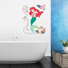 Adornos Ariel Fairy Wall Stickers Kids Home Princess Decoration Little Mermaid Girl Wall Decals Art Paper Anime Posters