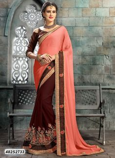 Buy Divine Peach Colored Chiffon Embroidered Party Wear Saree Get 30% Off on Designer Sarees From Leemboodi Fashion with Free Shipping in INDIA Now get 5% off on the purchase of 2 & buy 4 get 10% off till 15th August. Limited Period Offer from Leemboodi Fashion Now Available on Cash On Delivery