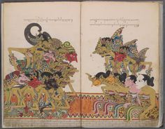 Gods, Heroes and Clowns at the NGV. Shadow puppets and Gods, Heroes and Clowns draws on the National Gallery of Victoria's collection to explore works of art associated with the rich narrative traditions of South and Southeast Asia and their use in performance. Education text for teachers. Pictured work - INDONESIAN Illustrated manuscript of Serat Dewa Ruci 1886