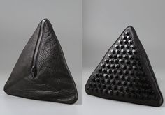 Darla Pyramid Clutch, black leather with black studs, by Alexander Wang