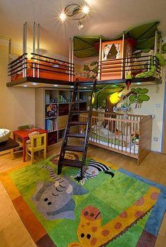 Boys room. Cama em mesanino e nichos embaixo. #prático