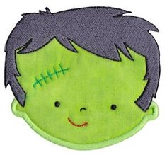 Frankenstein Face Applique - 2 Sizes! | Halloween | Machine Embroidery Designs | SWAKembroidery.com