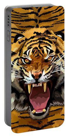 Tiger Roar Portable Battery Charger Available for @pointsalestore #portablebatterycharger #case #pattern #feather #native #animal #beast #bird #eagle #hawk #eagleeyes #hawkeyes #birdeyes #eaglehead #hawkhead #birdhead #leopard #albinoleopard #tiger #lion #hyenas #hyaenas #cat #jaguar