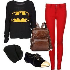 A back to school outfit idea. #Batman #firstdaylook