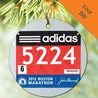 Running Porcelain Ornament Your Race Bib on a Custom (FULL BIB) - Commemorate a great race with your bib on a porcelain ornament.  Ornament can be personalized on the back with the runners name, time and message.