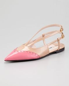 Double-Buckle Bicolor Ballerina Flat, Pink/Nude by Miu Miu at Neiman Marcus.