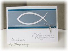 : Invitation to communion .: Invitation to communion Communion, Invitation Design, Invitations, Stampin Up Karten, Stamping Up, Fused Glass, Birthday Cards, Frame, Garden