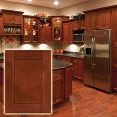 "Modern flat panel - ""shaker"" style - red cherry wood kitchen cabinets."