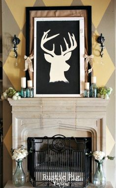 How to Create a Spring Mantel Deer Silhouette (from nice xmas wreath) Home Fireplace, Fireplaces, Hill Country Homes, Rustic Luxe, Deer Silhouette, Candle Stands, Jar Candle, Boys Bedroom Decor, Barbie Dream House