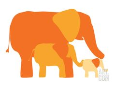 Orange Elephants Print by Avalisa at Art.com. Comes in a lot of different colors.