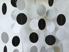 This black, silver and white garland is made from cardstock which has been machine sewn with white thread. Graduation party too! 18 Birthday Party Decorations, Silver Party Decorations, 18th Birthday Party, Graduation Decorations, Black And White Party Decorations, Black White Parties, Black And White Theme, Black Party, Ballon Party