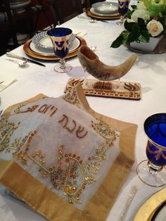 Yom Kippur table in blue and gold. Beautiful!!