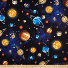 Stargazers Planets Royal from @fabricdotcom  Designed by Garry Walton and licensed by MGL to Robert Kaufman, this cotton print is perfect for quilting, apparel and home decor accents.  Colors include black, blue, grey, white, orange, yellow, brown and green.