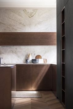 Custom kitchen with island without handles T30 / D90 | Kitchen with island by TM Italia Cucine