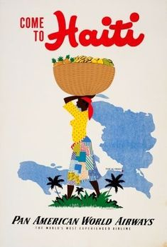 Come To Haiti Pan American World Airways 1950s - original vintage poster by E Lafond listed on AntikBar.co.uk #vintageposters