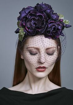 Rachel Trevor Morgan Millinery AW 2016 | R16W18 - Purple silk taffeta roses on Alice band with face veil