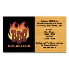 BBQ Catering Hot Burning Fire Business Card | Business cards and ...