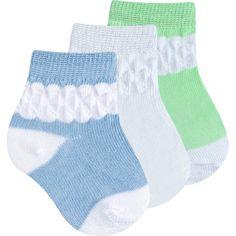 Meia para Bebê Menino Kit com 3 Pares Sortidos - Everly :: 764 Kids | Roupa bebê e infantil