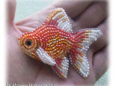 Вышиваем бисером золотую рыбку   Ярмарка Мастеров - ручная работа, handmade