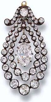 Queen Mary/Princess Margaret Antique Diamond Pendant. Given HM Queen Mary by HM King George V as birthday present on May 26, 1918. At some point given to HRH Princess Margaret, Countess of Snowdon. (Granddaughter of Queen Mary & sister HM QEII) Pendant was designed as marquise-cut diamond drop within graduated double border of old-cut diamonds to the scroll surmount, circa 1870, 4.6 cm. high. June 13, 2006 sold at auction for $57,408. https://www.facebook.com/groups/260713314096465/