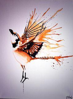 Orange Jaybird, Acrylic on Canvas.