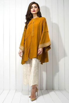 Show details for Karandi embroidered shirt Simple Pakistani Dresses, Pakistani Fashion Casual, Indian Fashion Dresses, Pakistani Dress Design, Indian Designer Outfits, Pakistani Outfits, Designer Clothing, Stylish Dresses For Girls, Stylish Dress Designs