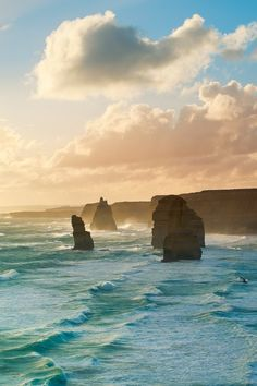 The Twelve Apostles, Australia -- drive about four hours west of Melbourne along the Great Ocean Road to see these magnificent limestone stacks left isolated from the cliffs by millions of years of wind and waves from the rough Southern Ocean along the Victoria coastline. See these nearby attractions, as well: Gibson Steps, Loch Ard Gorge and London Bridge.