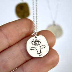Minds Eye Necklace Eye Necklace, Dog Tag Necklace, Perfectly Imperfect, Sterling Silver Chains, How To Draw Hands, Pendants, Crafts, Handmade, Jewelry