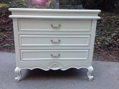 Solid and very well built! This sweet 3 drawer dresser is perfect for a small space. Professionally painted in Kelly Moore semi gloss, timid