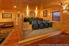 The theater room at the Majestic View Lodge cabin.