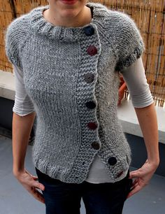 raptwithfiber's Bulky Buttony - make this into long sleeved, and it would be to die for