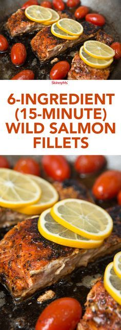 With just six simple ingredients and 15 minute prep time, these 6-Ingredient Wild Salmon Fillets makes cooking salmon at home a snap! | @skinnyms #easy #simple #goodfood
