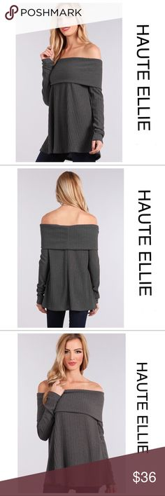 Cafe' Gray Ribbed Fold Over Off Shoulder Knit Top  Cafe' Gray Ribbed Fold Over Off Shoulder Knit Top. Haute Ellie Sweaters