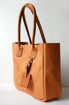 Handstitched Tan Leather Tote Bag; Nimchi & Karim, Etsy