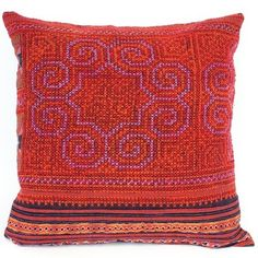 pillow made from vintage material once worn by Hmong women in Vietnam