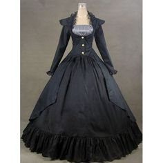 Black Long Sleeve Old Wild West Pioneer Gothic Shirt Dress Ball Gown SKU-302015