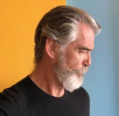 42 Hairstyles for Men with Silver and Grey Hair - Men Hairstyles World - Uñas Coffing Maquillaje Peinados Tutoriales de cabello Grey Hair Beard, Men With Grey Hair, Gray Hair, Older Mens Hairstyles, Haircuts For Men, Silver Fox Hair, Silver Foxes, Hair And Beard Styles, Long Hair Styles