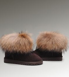 UGG Fox Fur Mini Boots 5854 Chocolate Discount Clearance