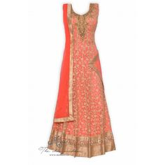 Exquisite neon pink stitched frock suit adorn in all over thread work and hand work on neckline