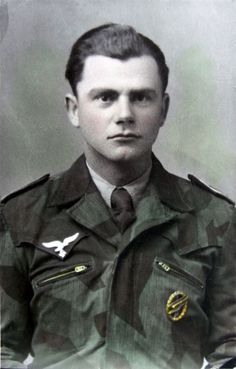 A period hand colorized portrait of a German Paratrooper that was taken while he was stationed in Italy 1944. He wears a tailored camouflage uniform made from his shelter-half which was not an uncommon practice. The tunic follows the style of the Waffen-SS Saharina tunic also worn in Italy by them.