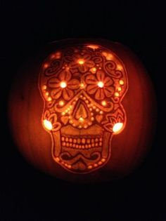 Dia de los muertos skull this decorative pumpkin skull captures the stores stocked with candy and scary costumes the pumpkin spice latte at starbucks my favorite of all though has to be carving p pronofoot35fo Images