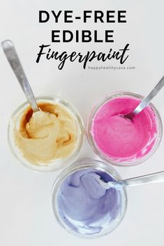 Dye-Free Edible Fingerpaint - this taste safe paint, made with real foods and spices is easy to make and perfect for kids of all ages. Preschool Art Projects, Preschool Arts And Crafts, Craft Projects For Kids, Fun Crafts, Healthy Fruit Snacks, Coconut Milk Yogurt, Edible Paint, Super Healthy Kids, Superfood Powder