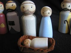 Nativity Scene Peg People Christmas Nativity Set, Christmas Ideas, Christmas Decorations, Wooden People, Godly Play, Design Market, Clothespin Dolls, Wooden Pegs, Baby Jesus