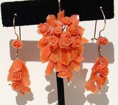 Victorian Carved Coral And 14K Gold Earrings & Brooch/Pendant