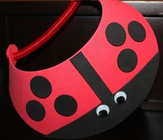 DIY:  Lady Bug Visor.  Perfect for birthday parties!